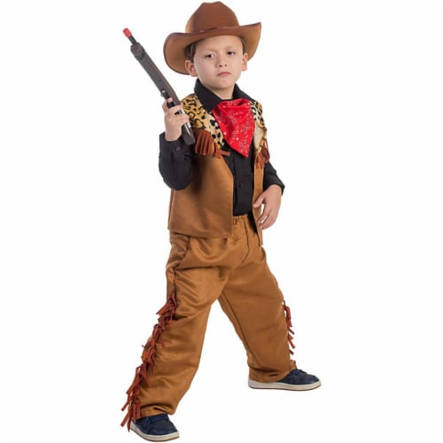 Dress Up America Toy DU780-M Wild Western Cow Costume For Kids, Medium Perspective: front