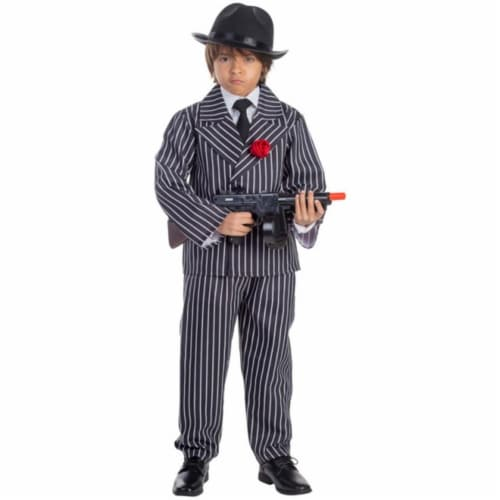 Dress Up America 781-L Pinstriped Gangster Boys Costume, Large - Age 12 to 14 Perspective: front