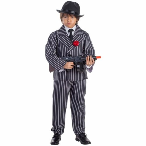 Dress Up America 781-S Pinstriped Gangster Boys Costume, Small - Age 4 to 6 Perspective: front
