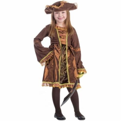 Dress Up America 797-M Pirate Girls Costume, Medium - Age 8 to 10 Perspective: front