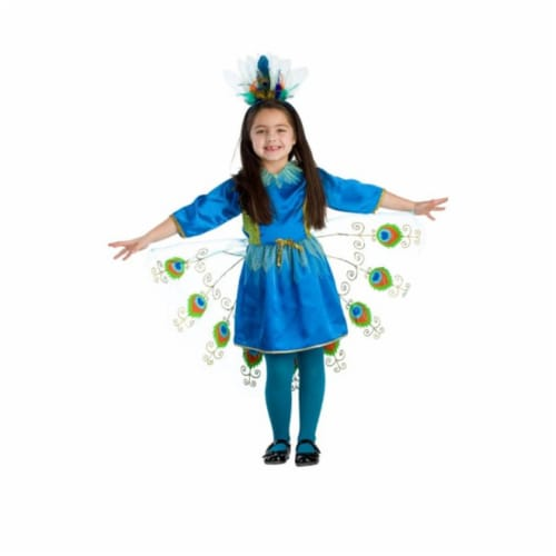 Dress Up America 828-S Proud Peacock Girls Costume, Small - Age 4 to 6 Perspective: front
