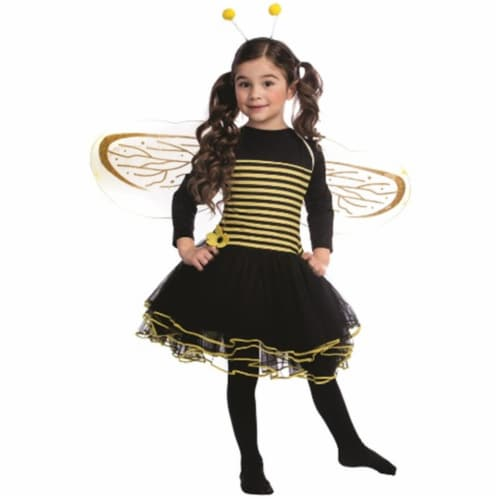 Dress Up America 842-S Bumblebee Dress Costume, Small - Age 4 to 6 Perspective: front