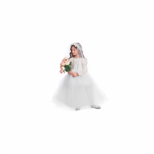 Dress Up America 847-M Bridal Princess Costume, Medium - Age 8 to 10 Perspective: front