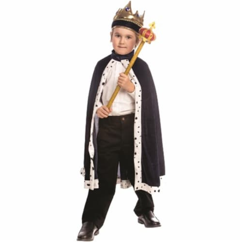 Dress Up America 849-N Kids Navy King Robe Perspective: front