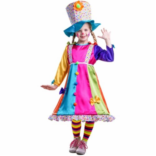 Dress Up America 852-M Polka Dot Clown Costume, Medium - Age 8 to 10 Perspective: front
