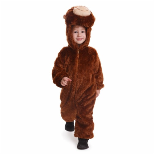Dress Up America 863-M Plush Monkey Costume for 8 to 10 Years Kids, Brown - Medium Perspective: front