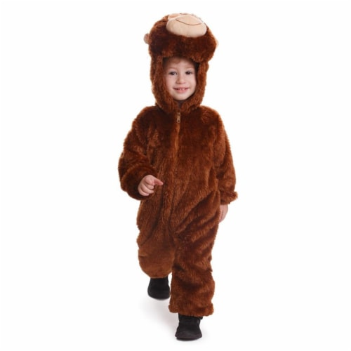 Dress Up America 863-T4 Plush Monkey Costume - Brown, Toddler 4 Perspective: front