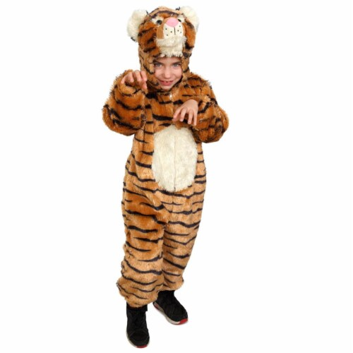 Dress Up America 864-L Striped Tiger Costume for 12 to 14 Years Kids, Large Perspective: front