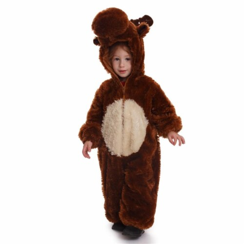 Dress Up America 865-T4 Kids Plush Reindeer Costume - Brown, Toddler 4 Perspective: front
