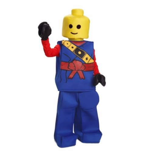 Dress Up America 873B-T2 Halloween Kids Toy Lego Block Ninja Man Costume Outfit Blue Toddler Perspective: front