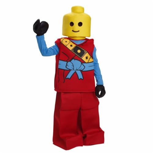 Dress Up America 873R-L Toy Block Ninja Man Costume for 12 to 14 Years Kids, Red - Large Perspective: front