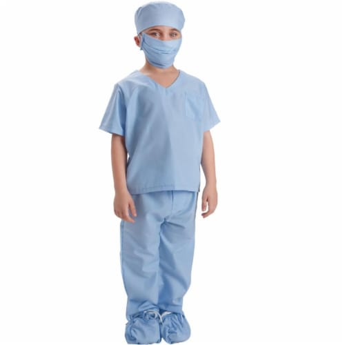 Dress Up America 874B-M Doctor Scrubs Toddler Costume for 8 to 10 Years Kids, Blue - Medium Perspective: front