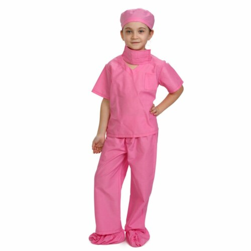 Dress Up America 874P-M Doctor Scrubs Toddler Costume for 8 to 10 Years Kids, Pink - Medium Perspective: front