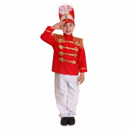 Dress Up America 875-T2 Boys Fancy Drum Major Costume - Red & White, Toddler 2 Perspective: front