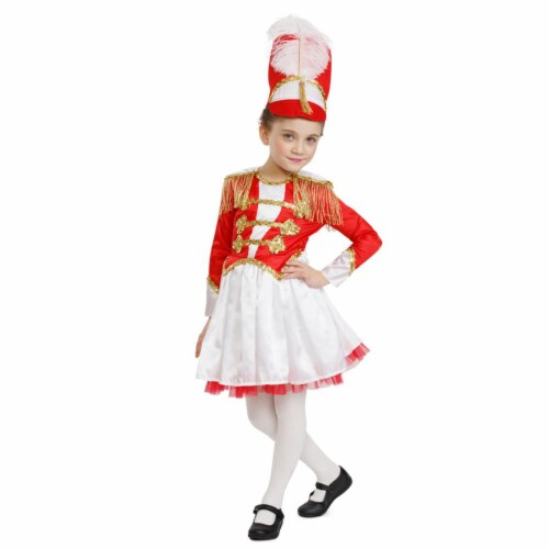 Dress Up America 876-T2 Girls Fancy Drum Majorette Costume, Red & White - Toddler 2 Perspective: front