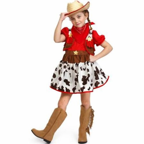 Dress Up America 882-T2 Cowgirl Halloween Costume, Size T2 Perspective: front