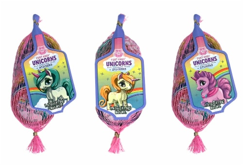 Fort Knox Unicorn Milk Chocolate Coins with Stickers Perspective: front