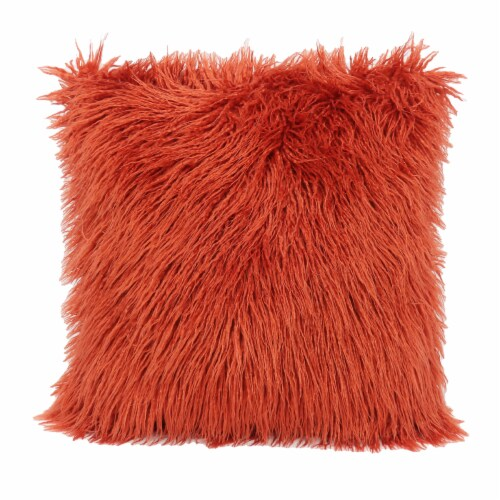 Arlee Home Fashions Mongolian Fur Decor Pillow - Orange Perspective: front