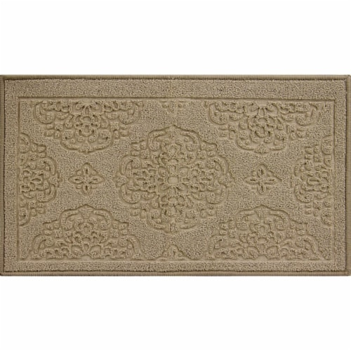 buyMATS 91-673-5408-01700030 17 x 30 in. Grand Impressions Medallions Mats, Tan Perspective: front