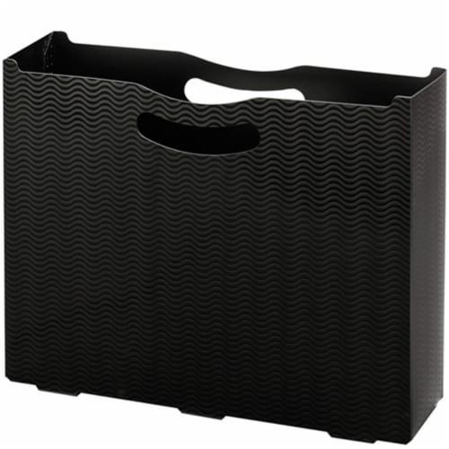 Desktop File Box, 3  Expansion, Letter Size, Black Wave Pattern Perspective: front