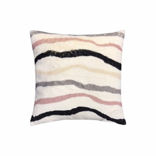 JLA Home Striped Fur Decor Pillow Perspective: front