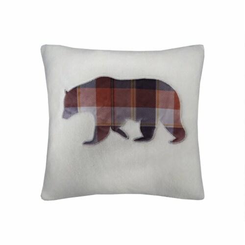 JLA Home Bear Plaid Decor Pillow Perspective: front