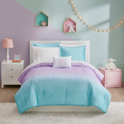 Moonbeams Glimmer Comforter - Purple/Blue Perspective: front