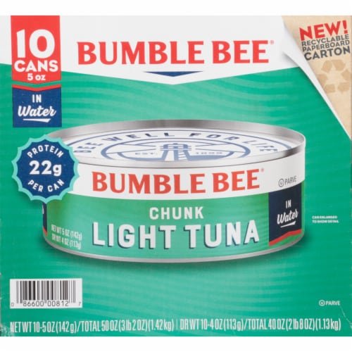Bumble Bee Chunk Light Tuna in Water 10 Count Perspective: front