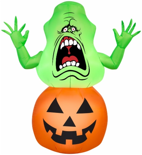 Gemmy Airblown Slimer on Pumpkin Inflatable Perspective: front