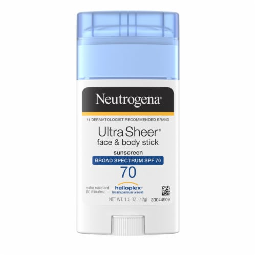 Neutrogena UltraSheer Face and Body Broad Spectrum Sunscreen Stick SPF 70 Perspective: front