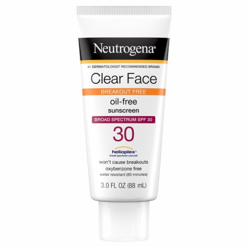 Neutrogena Clear Face Breakout Free Oil-Free Sunscreen Broad Spectrum SPF 30 Perspective: front