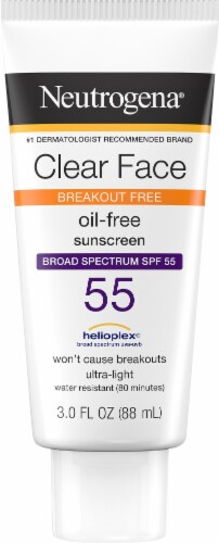 Neutrogena Clear Face Liquid Lotion Sunscreen SPF 55 Perspective: front