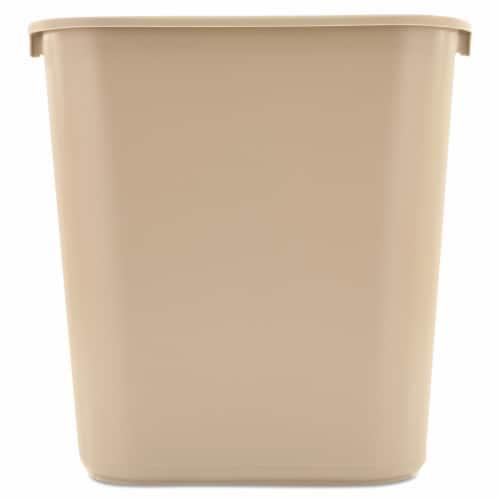 Rubbermaid Wastebasket,Rectangular,7 gal.,Beige  FG295600BEIG Perspective: front