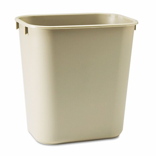 Rubbermaid Soft Molded Plastic Wastebasket  Plastic  Rectangular  3.5gal  Beige Perspective: front
