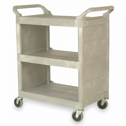 Rubbermaid Enclosed  Cart,Poly,Platinum,300 lb.  FG335588PLAT Perspective: front