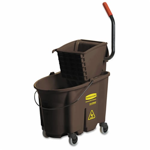 Rubbermaid Commercial Bucket,Sp Wrn,35q Wb2,Br FG758088BRN Perspective: front