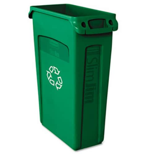 Rubbermaid Slim Jim Recycling Container with Venting Channels  Plastic  23 Gallons Perspective: front