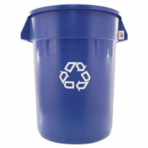 Rubbermaid Brute Recycling Container  Round  Plastic  32 Gallons  Blue Perspective: front