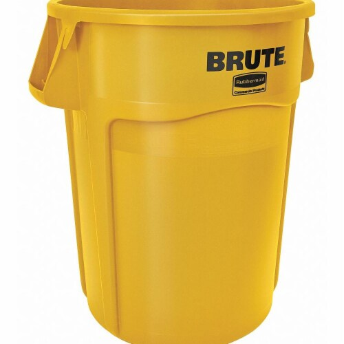 Rubbermaid Commercial Products Utility Container,55 gal.,Yellow Perspective: front