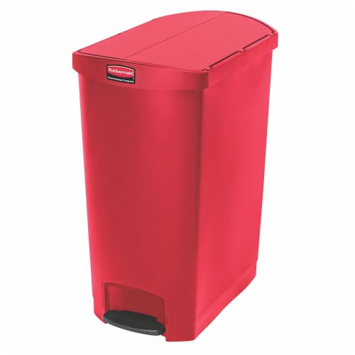 Rubbermaid Slim Jim 24 Gallon Plastic Step Kitchen Garbage Trash Can Bin, Red Perspective: front