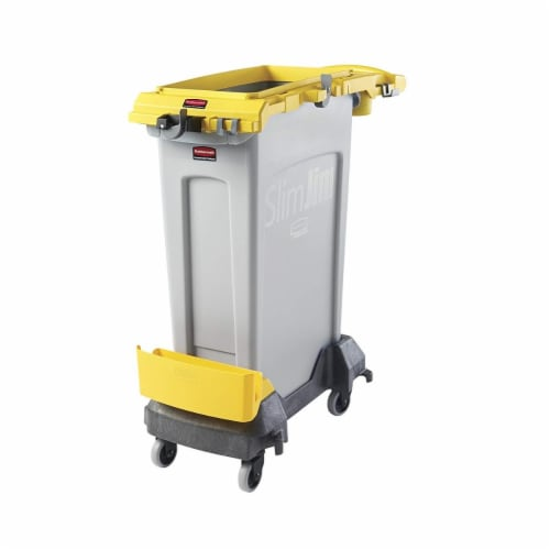 Rubbermaid 2032955 23 gal Slim Jim Rim Caddy, Yellow Perspective: front
