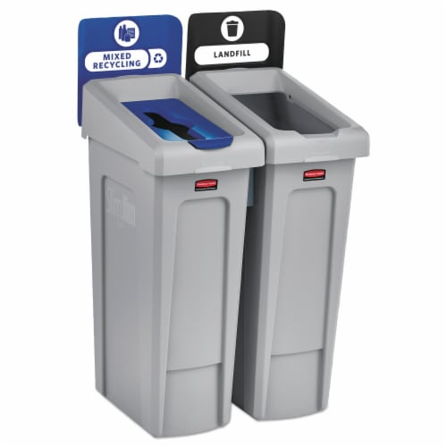 Rubbermaid Commercial Slim Jim Recycling Station - Black, Blue - 1 Each Perspective: front