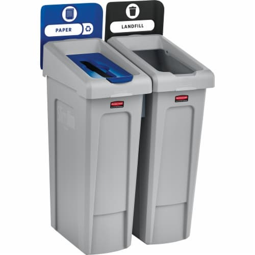 Rubbermaid Commercial Slim Jim Recycling Container 2007915 Perspective: front