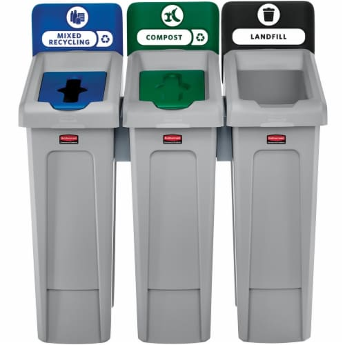 Rubbermaid Commercial Slim Jim Recycling Station - Black, Blue, Green - 1 Each Perspective: front