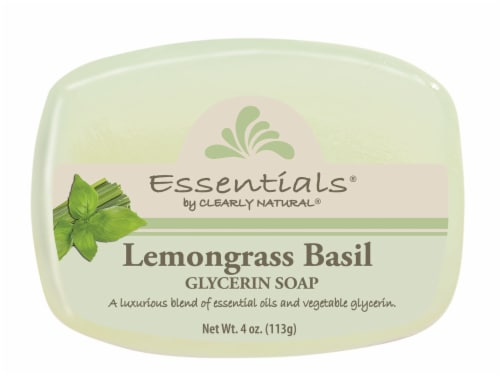 Clearly Natural Essentials Lemongrass Basil Glycerin Soap Perspective: front