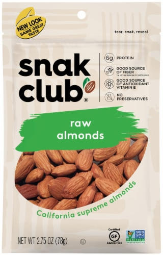 Snak Club Raw Almonds Perspective: front