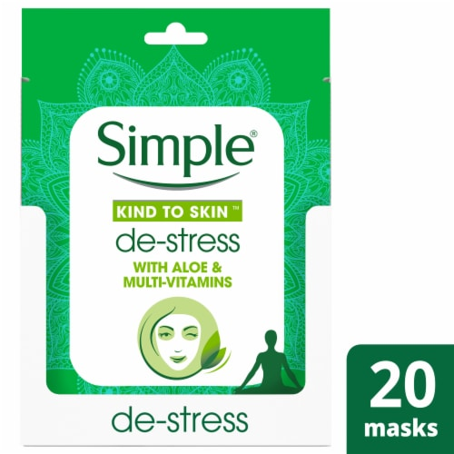 Simple Kind to Skin Aloe & Multi-Vitamins De-Stress Sheet Mask Perspective: front