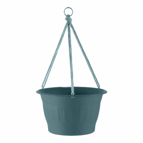 "Bloem Colonnade Wood Resin Hanging Basket 12"" Forest Green Perspective: front"