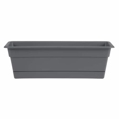 Bloem DCBT30-908 30 in. Dura Cotta Window Box Planter with Tray, Charcoal Perspective: front