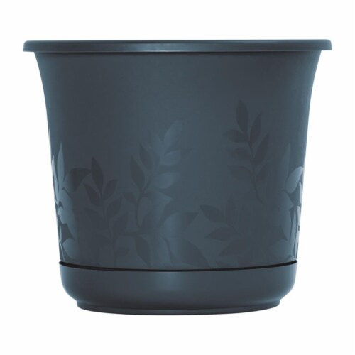 Bloem 7501562 6 x 6 in. Dia. Resin Planter, Charcoal Perspective: front